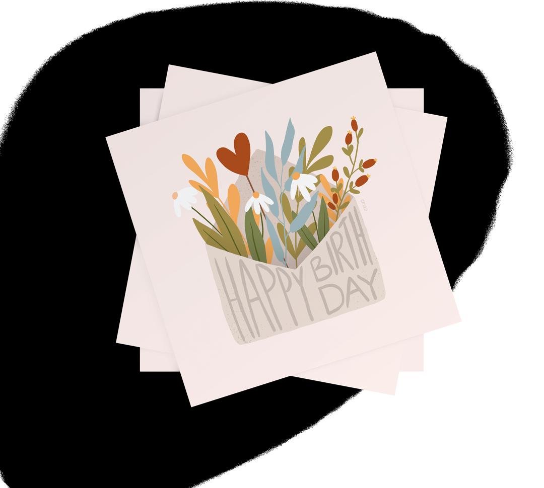 cmap Geburtstagskarte mit Blumenstrauß, der aus Briefumschlag kommt, handgezeichnet