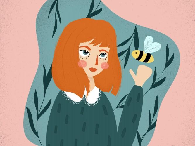 Handgezeichnete Illustration eines Mädchen mit Biene